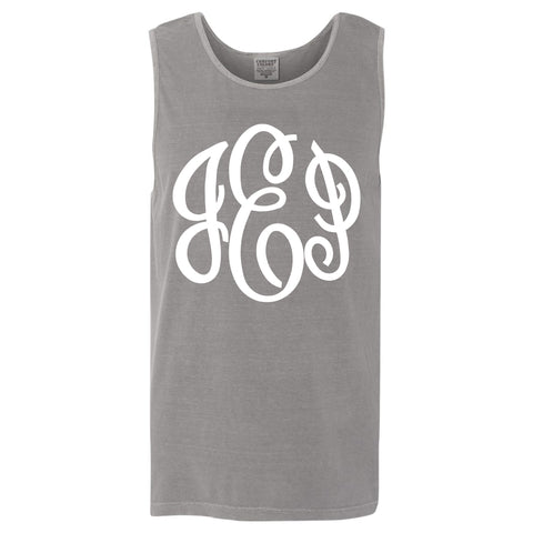 Large Monogram Comfort Color Tank in grey
