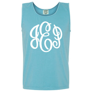 Large Monogram Comfort Color Tank in lagoon