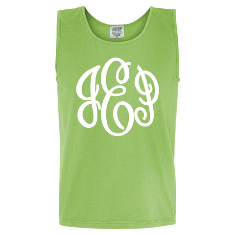 Large Monogram Comfort Color Tank in lime