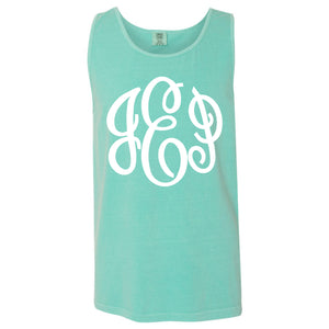 Large Monogram Comfort Color Tank in mint