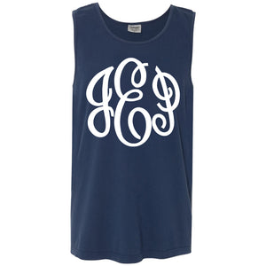 Large Monogram Comfort Color Tank in navy