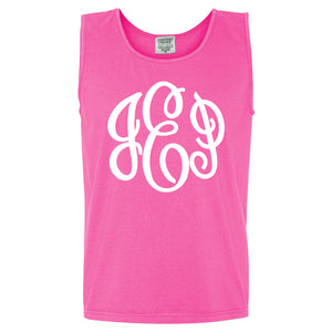 Large Monogram Comfort Color Tank in neon pink