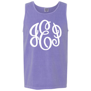 Large Monogram Comfort Color Tank in violet