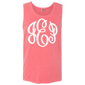 Large Monogram Comfort Color Tank in watermelon