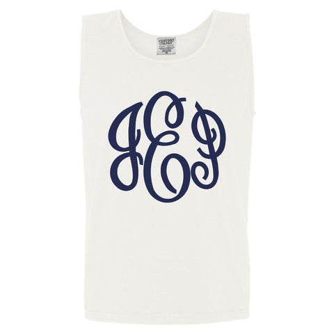 Large Monogram Comfort Color Tank in white