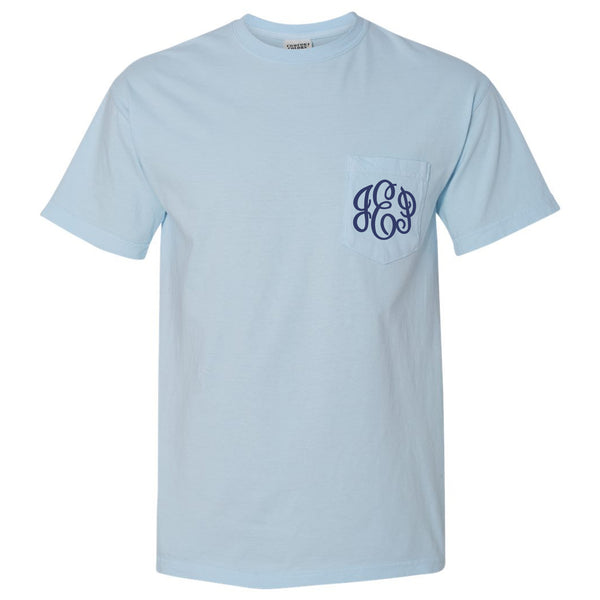 Monogram Comfort Color Short Sleeve Tee in Chambray
