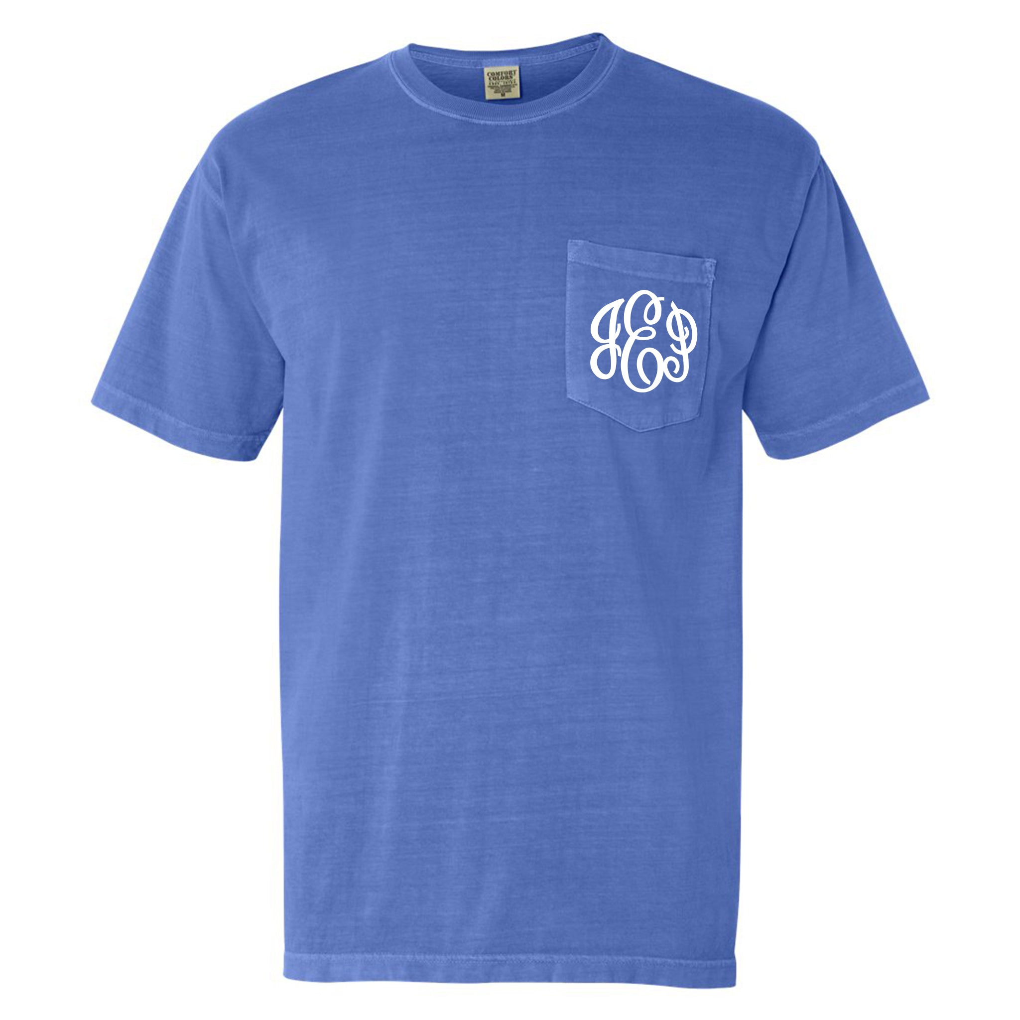 Monogram Comfort Color Short Sleeve Tee in Flo Blue