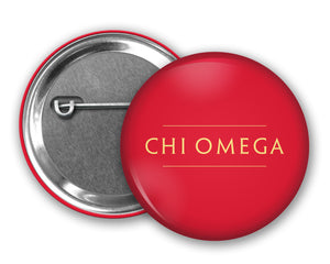Chi Omega Pin Back Button
