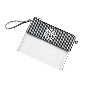 Monogram Clear Wristlet Purse in Houndstooth print