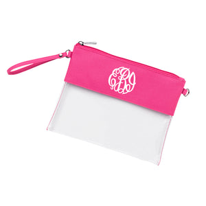 Monogram Clear Wristlet Purse in pink