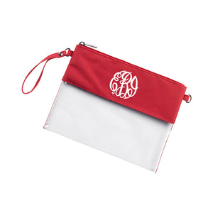 Monogram Clear Wristlet Purse in red