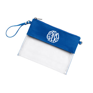 Monogram Clear Wristlet Purse in Royal Blue