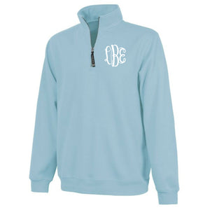 Monogram Crosswind Quarterzip in Aqua