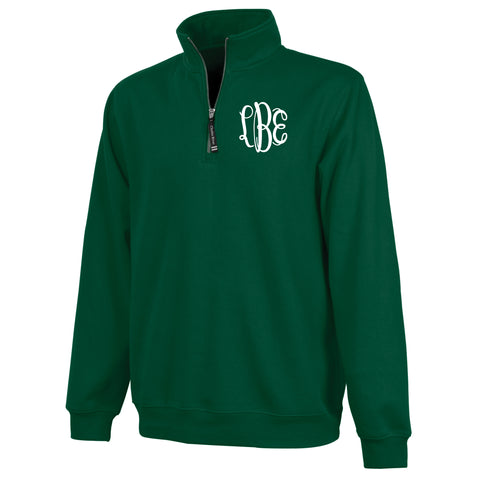 Monogram Crosswind Quarterzip in Forest