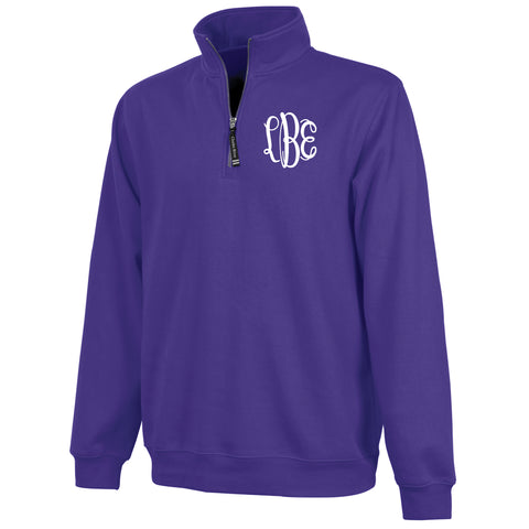 Monogram Crosswind Quarterzip in Purple