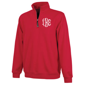 Monogram Crosswind Quarterzip in Red