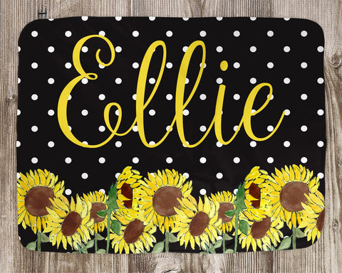 Sunflower Name Baby Blanket