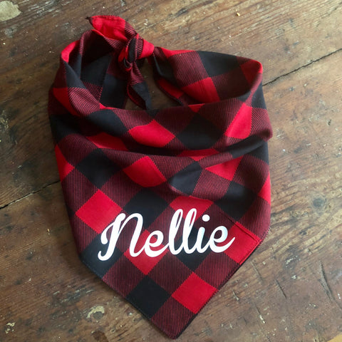 Personalized Buffalo Check Dog Bandana