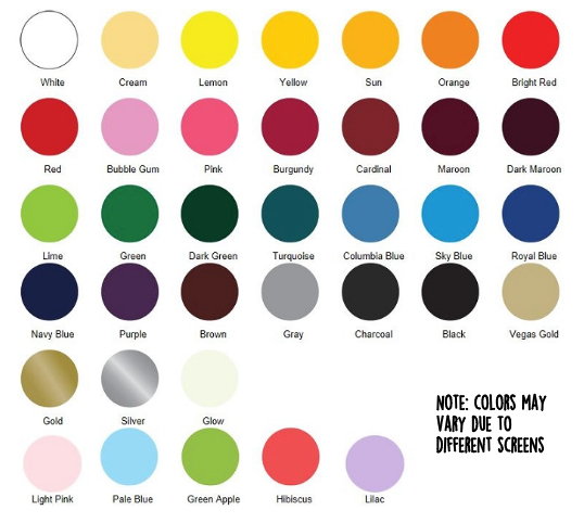 Sweet Pea's vinyl color chart