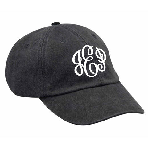 Monogram Baseball Hat in Black