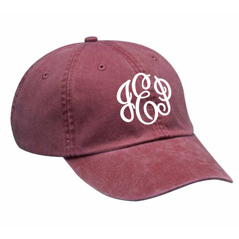 Monogram Baseball Hat in Burgundy