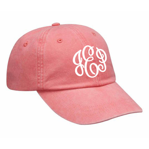 Monogram Baseball Hat in Coral