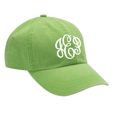 Monogram Baseball Hat in Neon Green