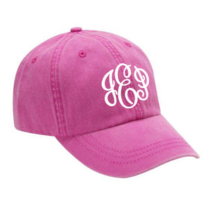 Monogram Baseball Hat in Neon Pink