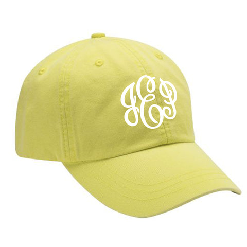 Monogram Baseball Hat in Neon Yellow
