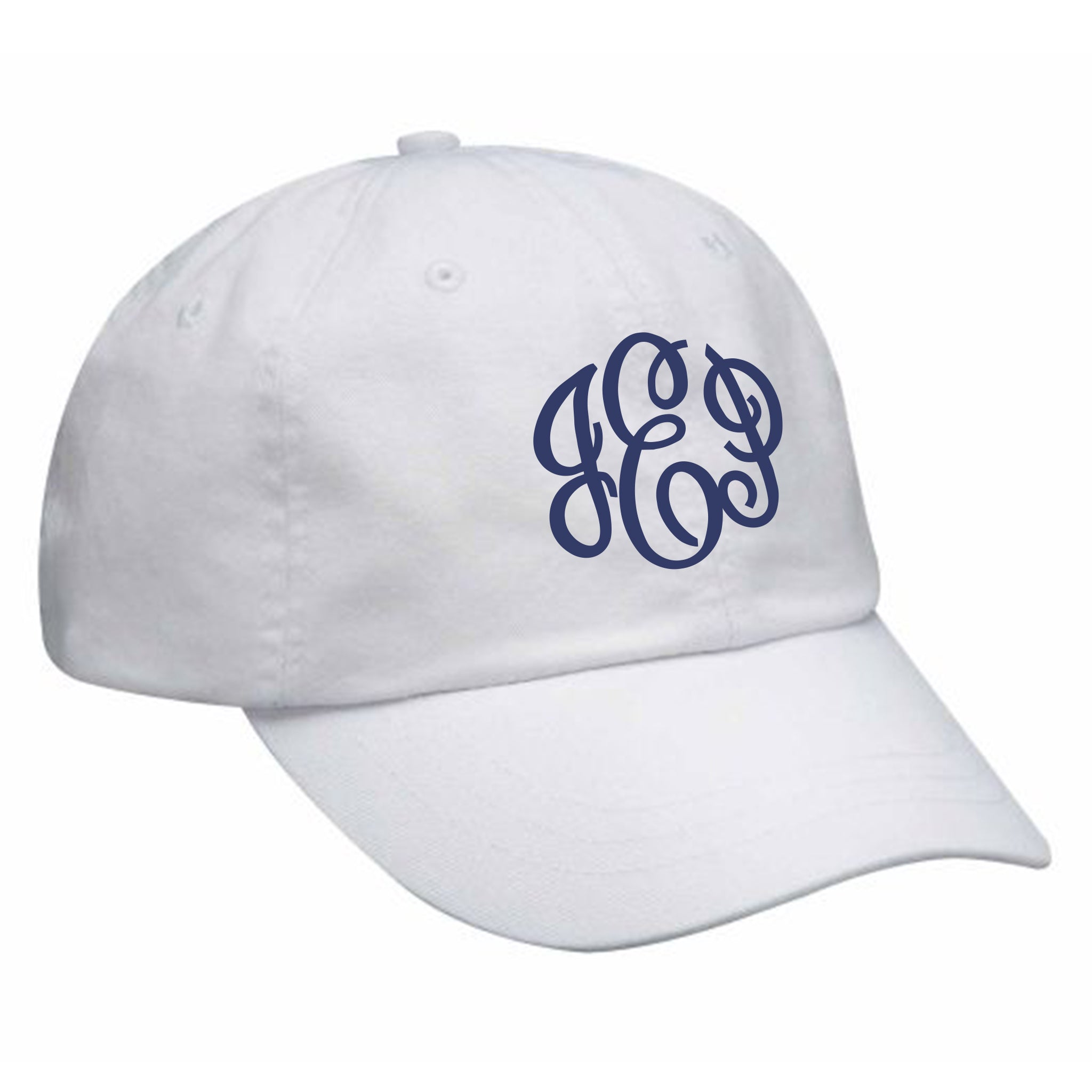 Monogram Baseball Hat in White