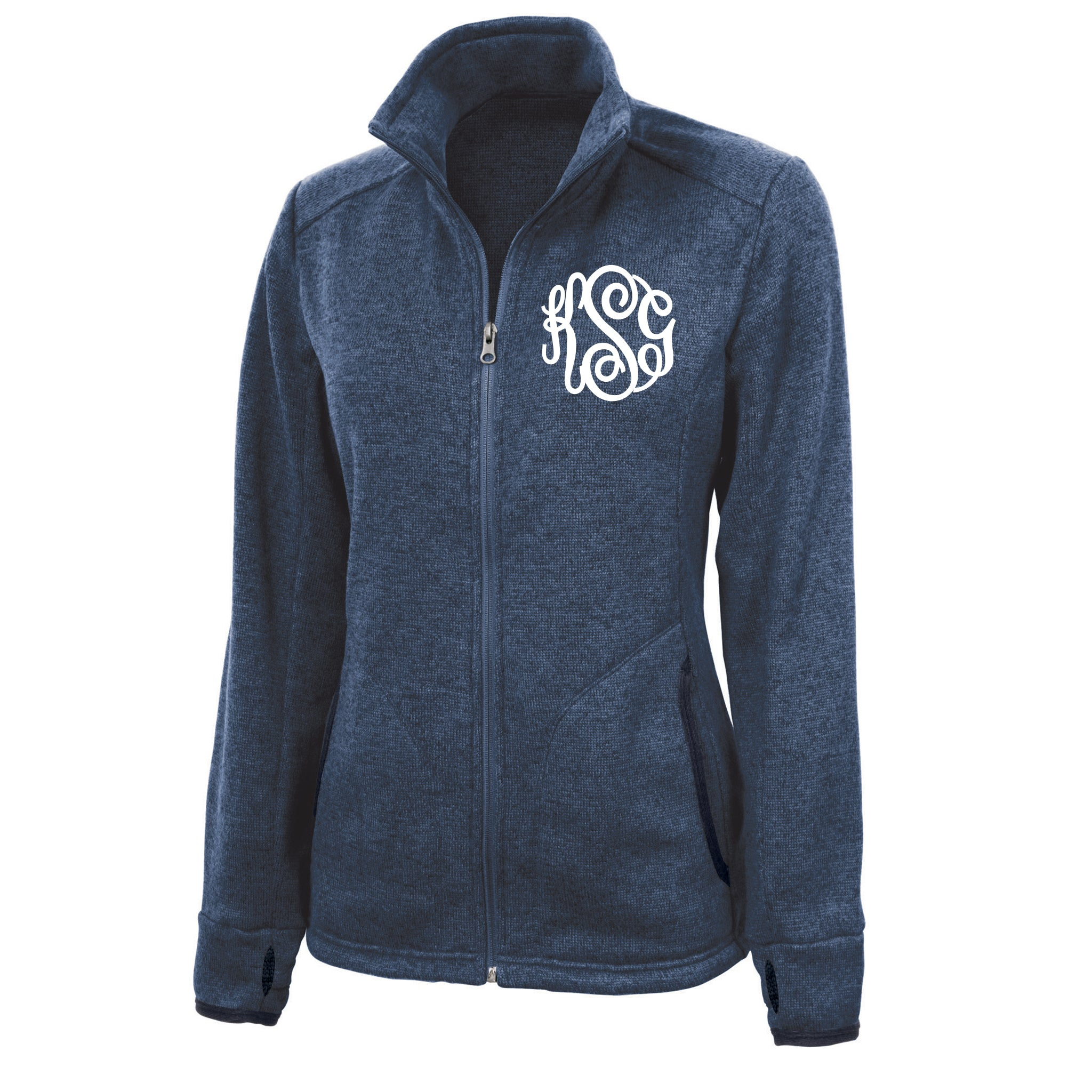 Monogram Heather Fleece Jacket in Blue