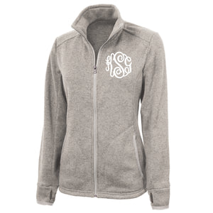 Monogram Heather Fleece Jacket in Oatmeal