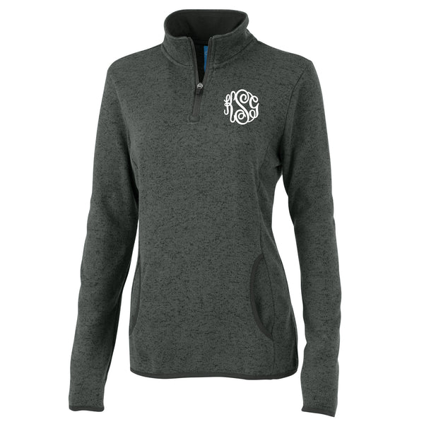 Monogram Heather Fleece Pullover in Charcoal