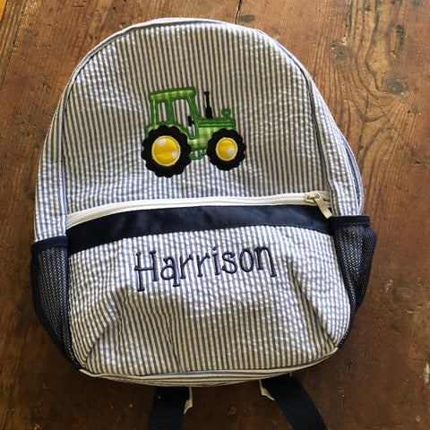 Personalized Kid's backpack with tractor