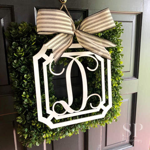 Monogram Square Boxwood Wreath
