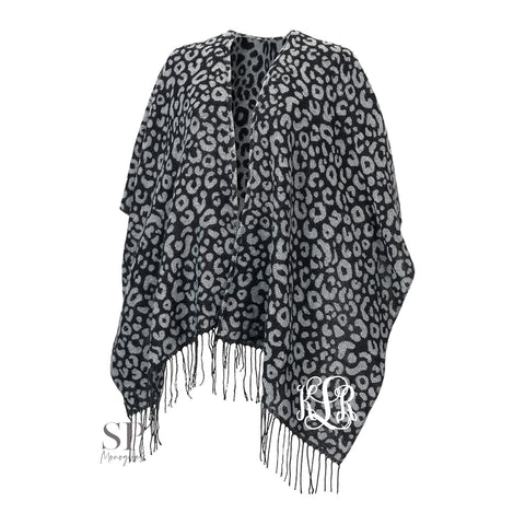 Monogram Kennedy Shawl - Black Leopard