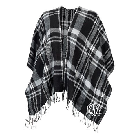 Monogram Kennedy Shawl - Black Plaid