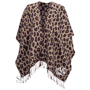 Monogram Kennedy Shawl - Leopard