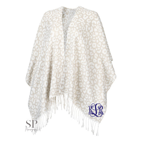 Monogram Kennedy Shawl - Natural Leopard