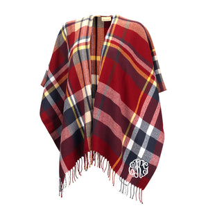 Monogram Kennedy Shawl - Navy and Garnet