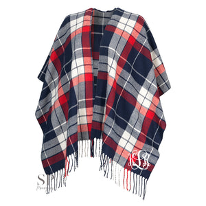 Monogram Kennedy Shawl - Navy and Red
