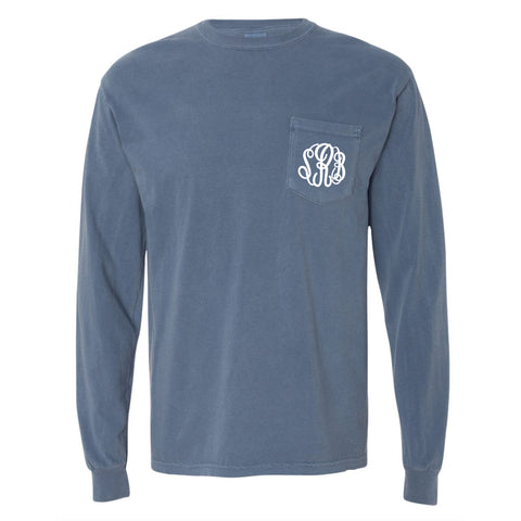 Monogram Comfort Color Long Sleeve Tee - Blue Jean