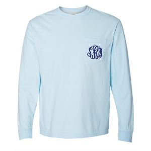 Monogram Comfort Color Long Sleeve Tee - Chambray