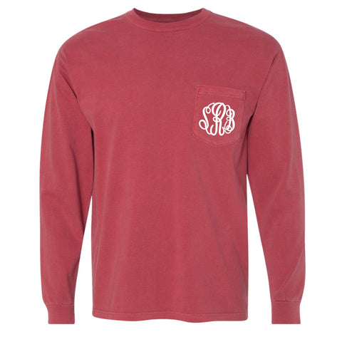 Monogram Comfort Color Long Sleeve Tee - Crimson