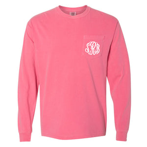 Monogram Comfort Color Long Sleeve Tee - Crunchberry