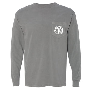Monogram Comfort Color Long Sleeve Tee - Grey