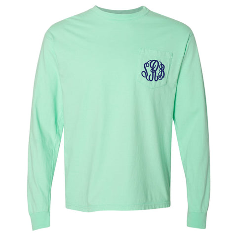 Monogram Comfort Color Long Sleeve Tee - Island Reef