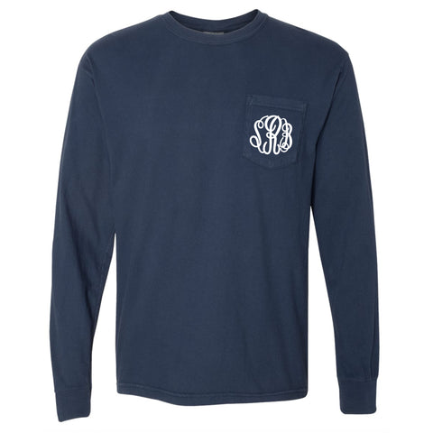 Monogram Comfort Color Long Sleeve Tee - Navy