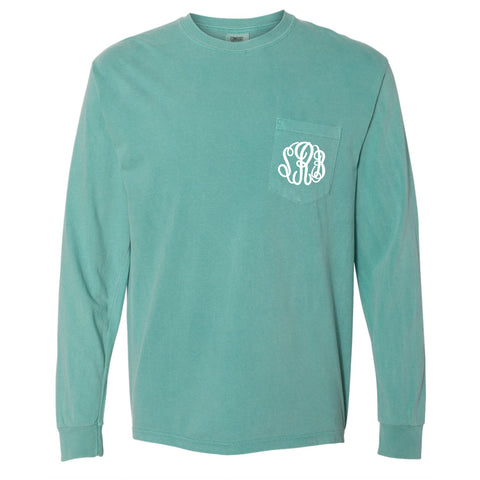 Monogram Comfort Color Long Sleeve Tee - Seafoam