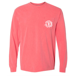 Monogram Comfort Color Long Sleeve Tee - Watermelon